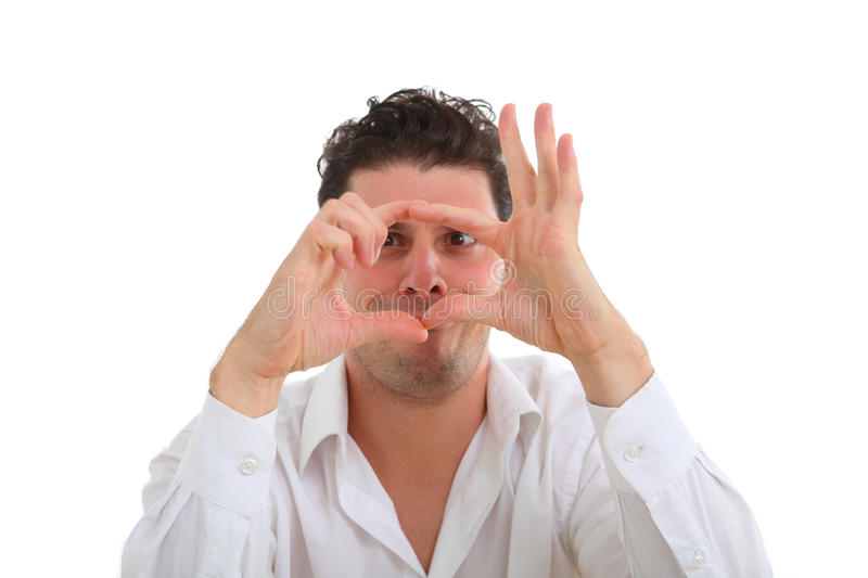 Man making frame with his fingers royalty free stock images
