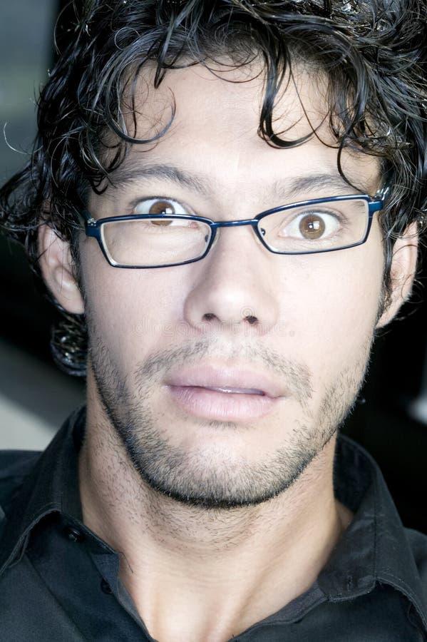 Man making funny face at camera stock photo