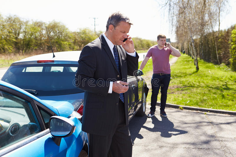 Download Man Making Phone Call After Traffic Accident Stock Image - Image: 31863873