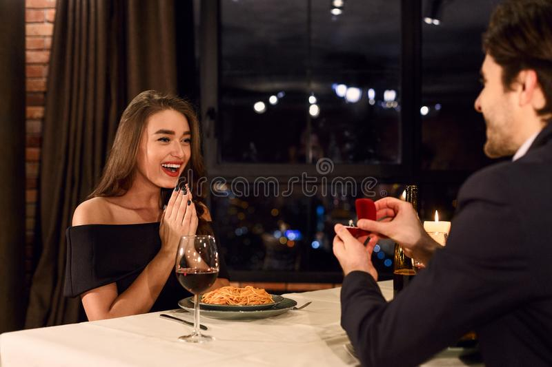 Surprising proposal concept royalty free stock photography