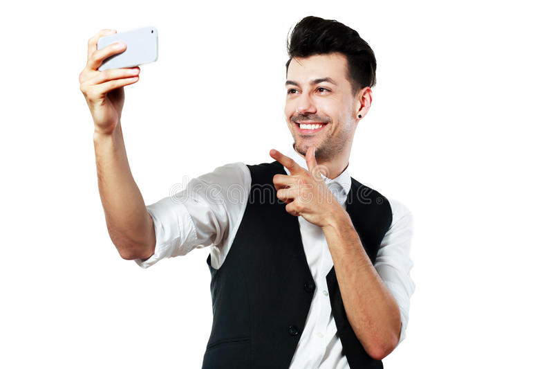 Man making selfie stock photography