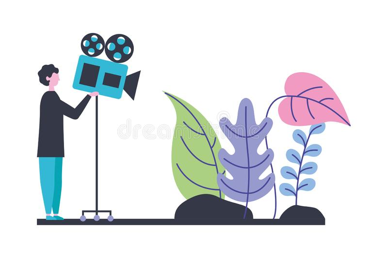 Man making video scene production movie film. Vector illustration vector illustration