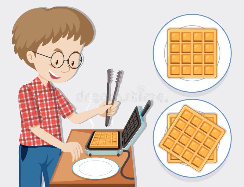 Man making waffle with waffle maker. Illustration vector illustration