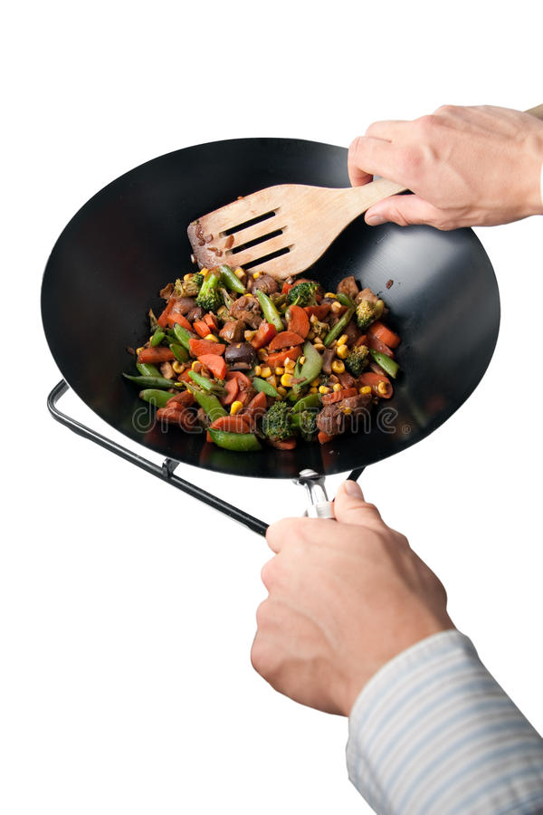 Man Making Wok Food Stock Image. Image Of Broccoli