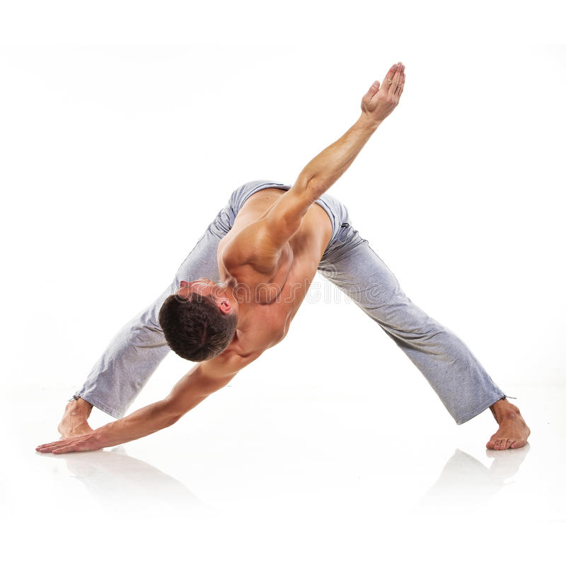 Download Man is making yoga stock photo. Image of active, background - 21505716