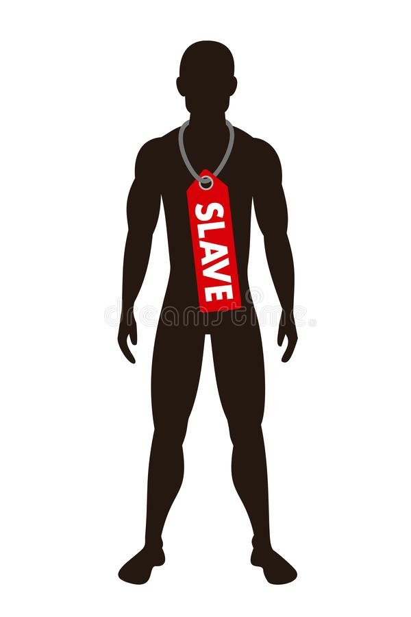 Man and male is labelled as slave - slavery, bondage, servitude and human trafficking. Human for forced and unfree labor. Vector illustration isolated on white stock illustration