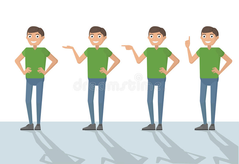 Man male person funny cartoon casual in various poses pointing w stock illustration