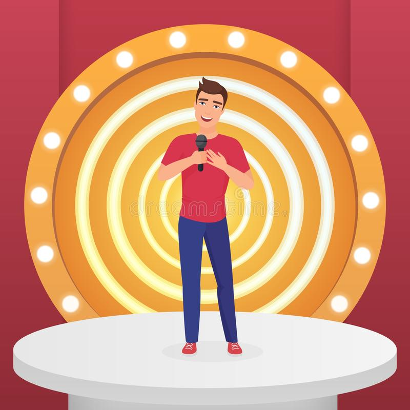Man male singer star singing pop song with microphone standing on circle modern stage with lamps vector illustration. Man male singer star singing pop song with vector illustration