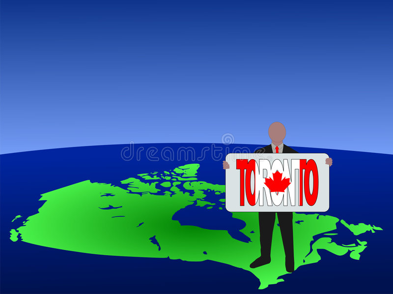 Man on map of Canada. Business man standing on map of Canada with Toronto text sign stock illustration