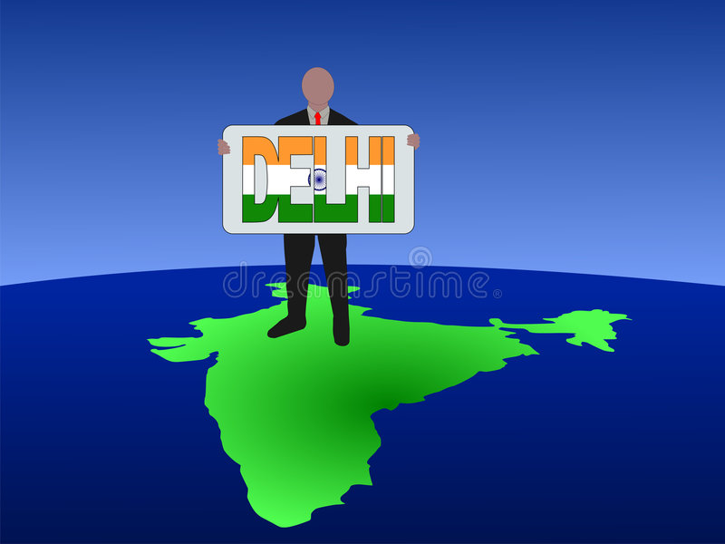 Man on map of India vector illustration