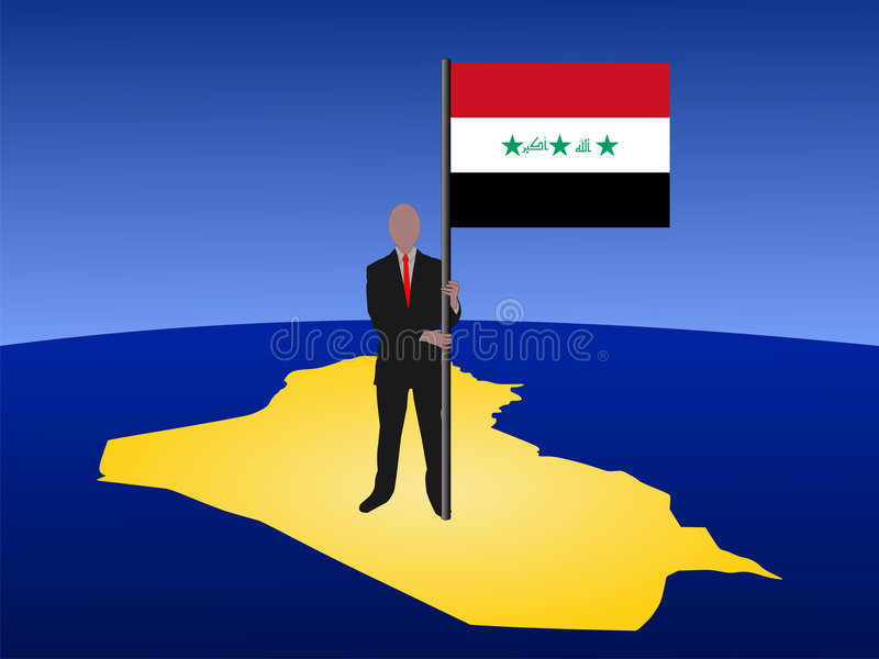 Man On Map Of Iraq With Flag Royalty Free Stock Image