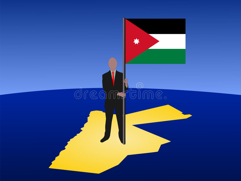 Man on map of Jordan with flag vector illustration