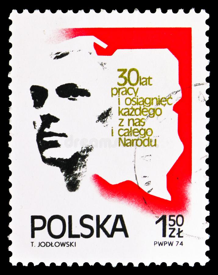 Man and map of Poland, 30th anniversary of People's Republic of Poland serie, circa 1974 stock illustration