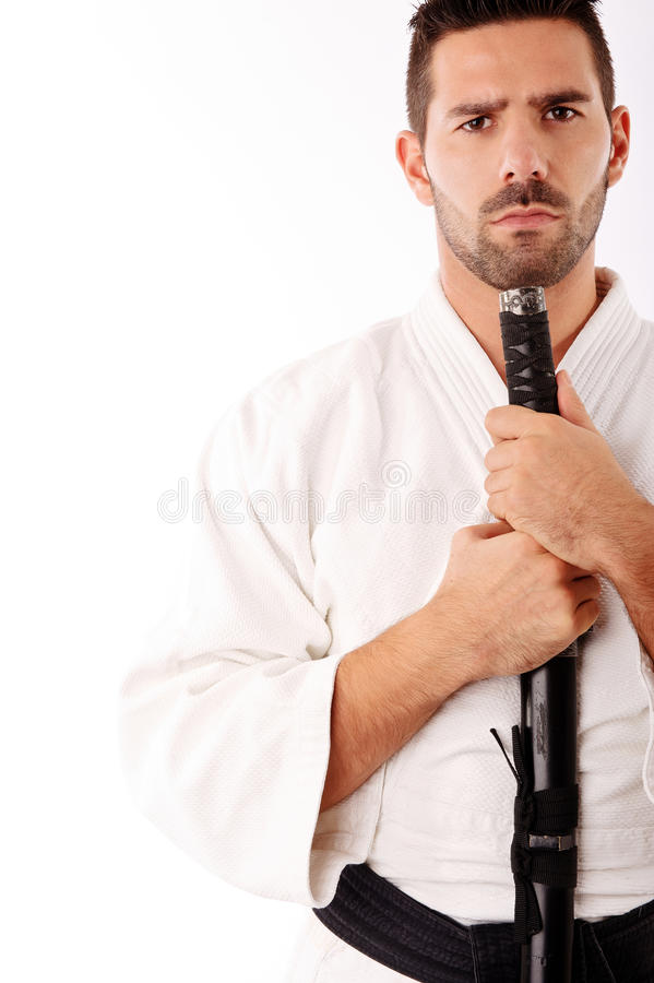 Man in martial art suite royalty free stock photo