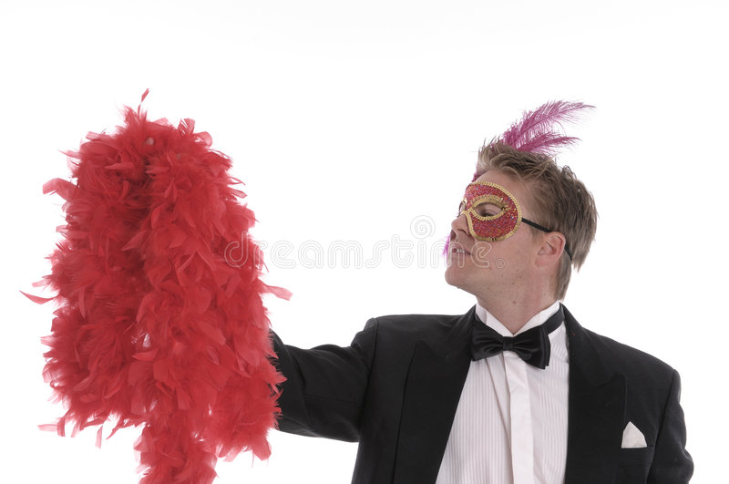 Download Man With Mask And Feather Boa Stock Image - Image of holding, dress: 5504613