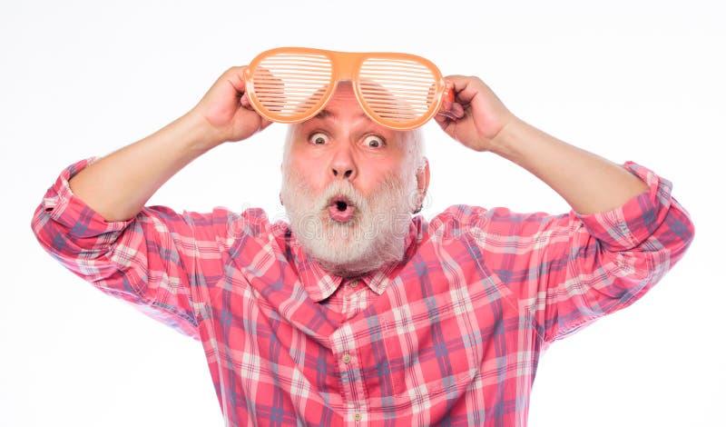 Man mature senior bearded hipster wear giant sunglasses. Cheerful pensioner concept. Eyes health. Optics store. Having royalty free stock photo