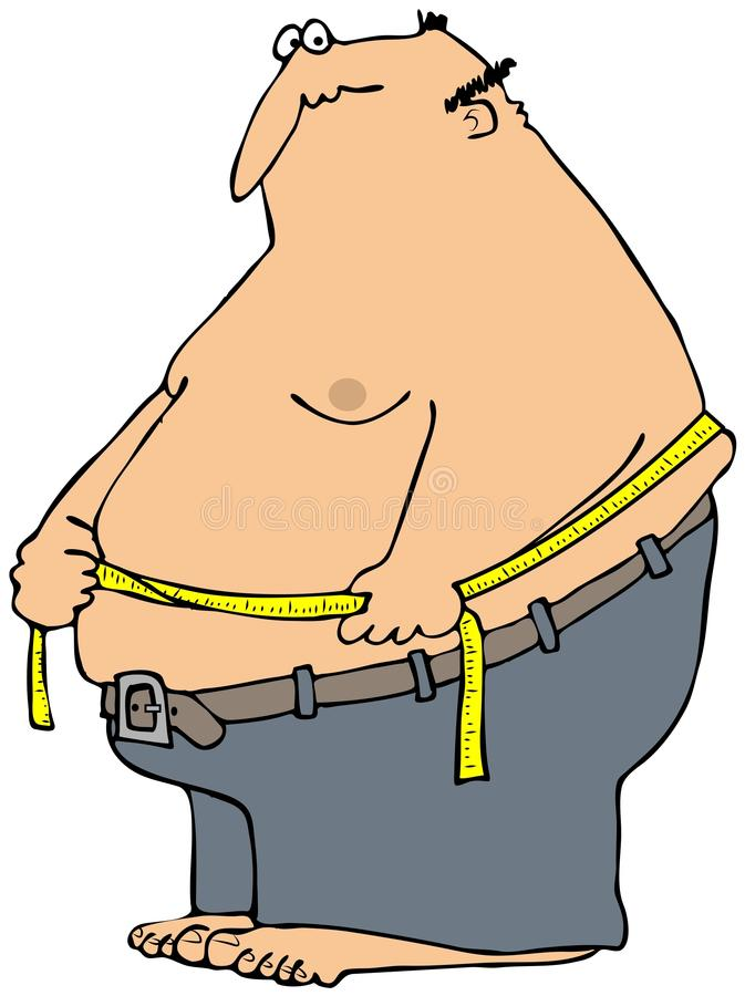Measuring Weight Cartoon Man Measuring His Wais...