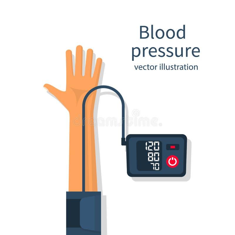 Man measuring patient blood pressure vector illustration