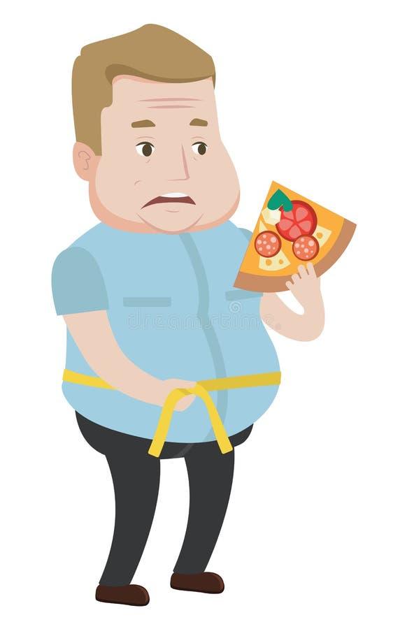 Man measuring waistline vector illustration. stock illustration