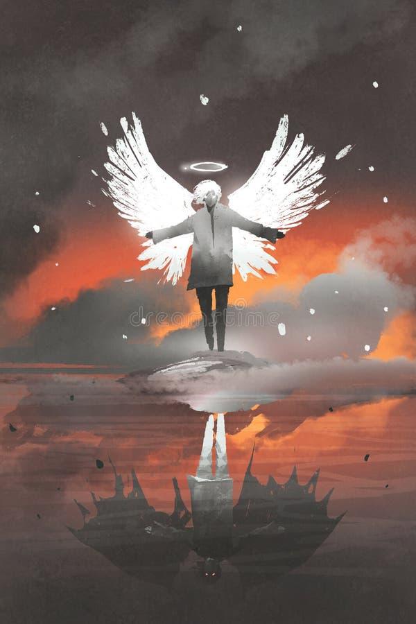 Man med ängelvingar som ses som jäkel i vattenreflexion stock illustrationer