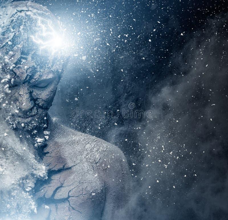 Man med andlig kroppkonst royaltyfria foton