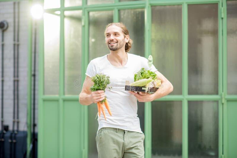 Man med asken som är full av nya rå grönsaker utomhus royaltyfri foto