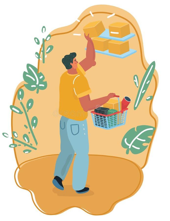 Man med att shoppa marknadskorgen stock illustrationer
