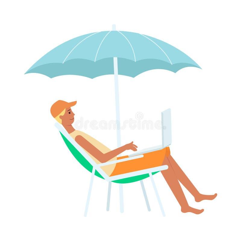 Man med bärbara datorn som sitter i vardagsrumstol under paraplytecknad filmstil vektor illustrationer