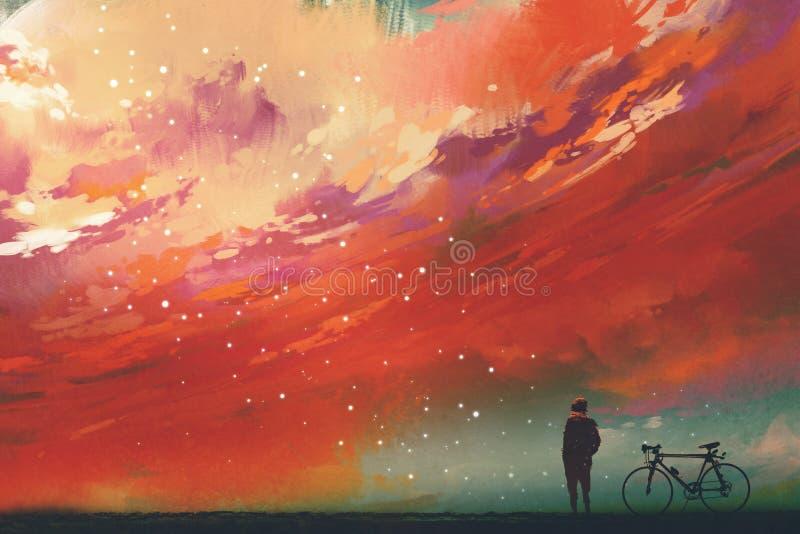Man med cykelanseende mot röda moln i himlen royaltyfri illustrationer