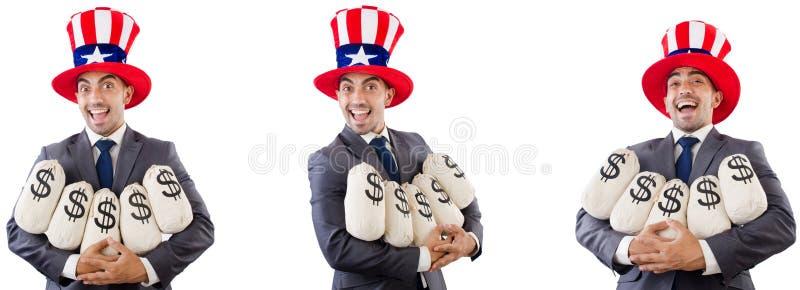Man med den amerikanska hatten med moneybags arkivfoto