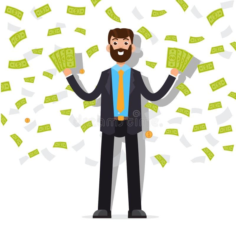 Man med den kontanta sedeln för dollar, anställd som mottar pengar royaltyfri illustrationer