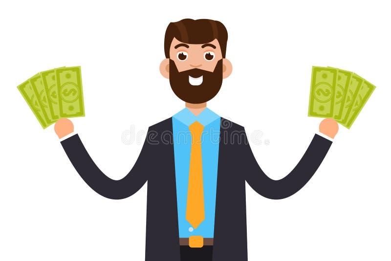 Man med den kontanta sedeln för dollar, anställd som mottar pengar stock illustrationer
