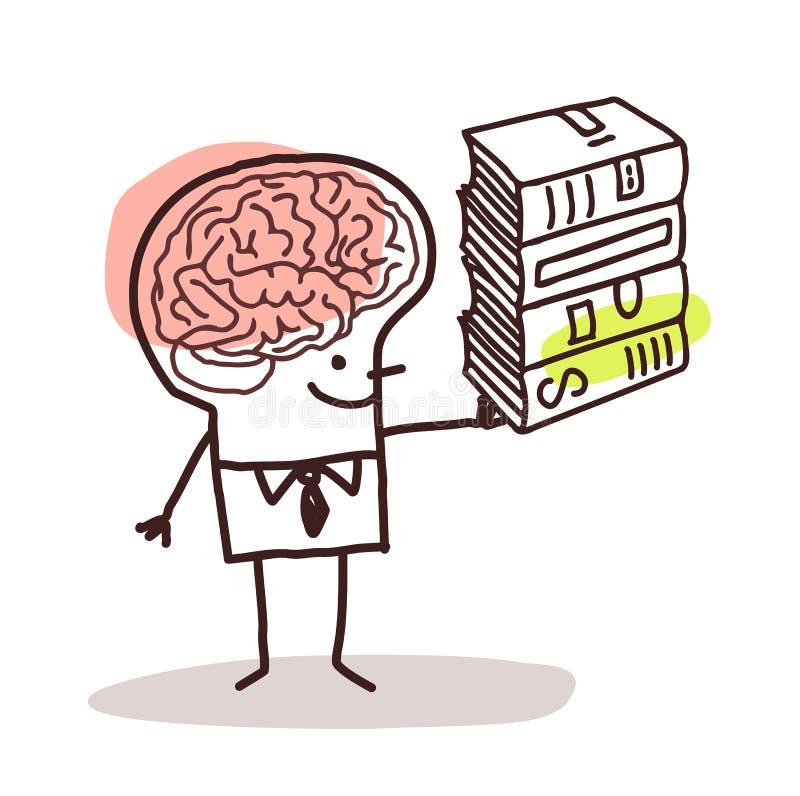 Man med den stora hjärnan och böcker vektor illustrationer
