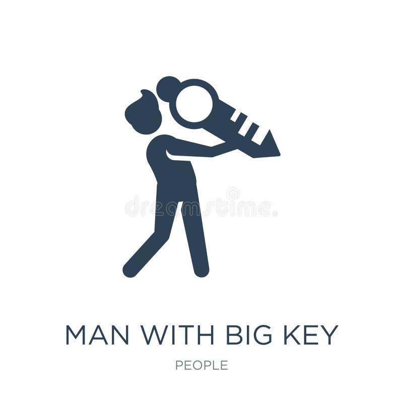 man med den stora nyckel- symbolen i moderiktig designstil man med den stora nyckel- symbolen som isoleras på vit bakgrund man me royaltyfri illustrationer
