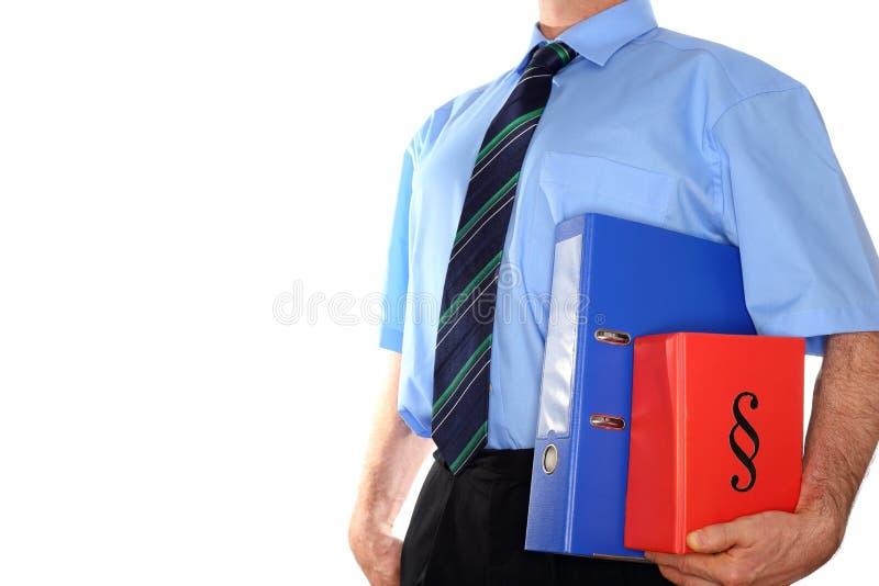 Man med dokument i arm arkivbild