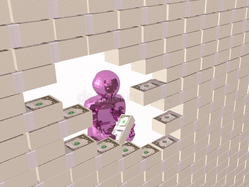 Man med dollarväggen vektor illustrationer