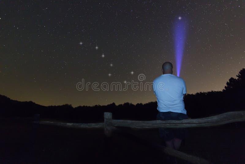 Man med en ficklampa som pekar till polstjärnanstjärnan Polstjärnan Stjärnklar natt Ursa Major, Karlavagnenkonstellation Härlig n royaltyfria bilder