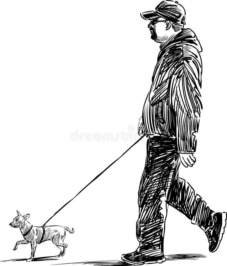Man med en hund royaltyfri illustrationer