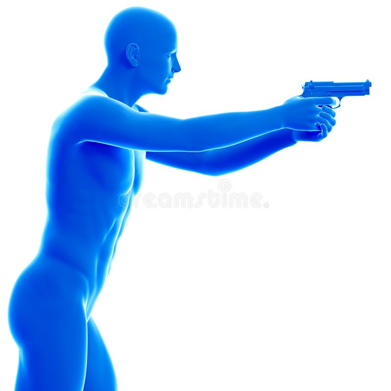 Man med en pistol royaltyfri illustrationer