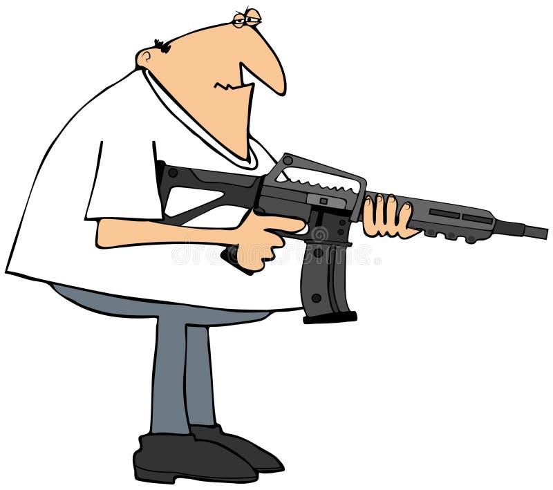 Man med ett anfallgevär