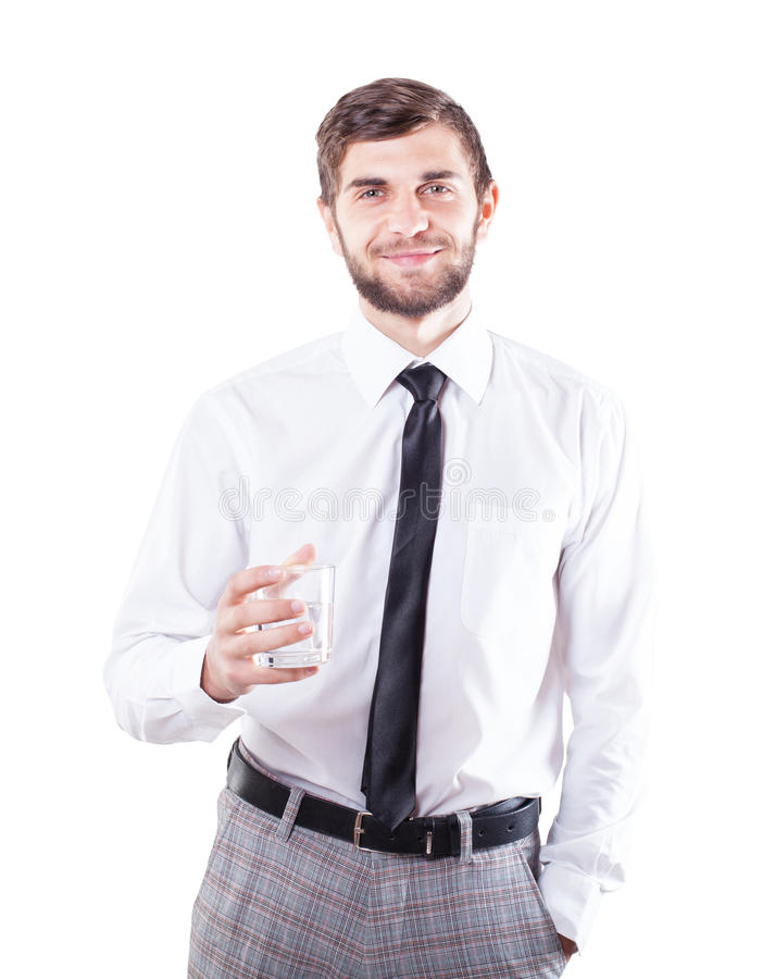 Man med ett exponeringsglas arkivfoto