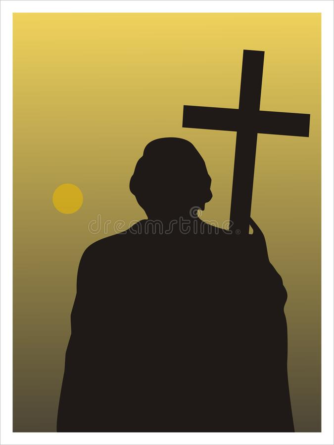 Man med ett kors vektor stock illustrationer