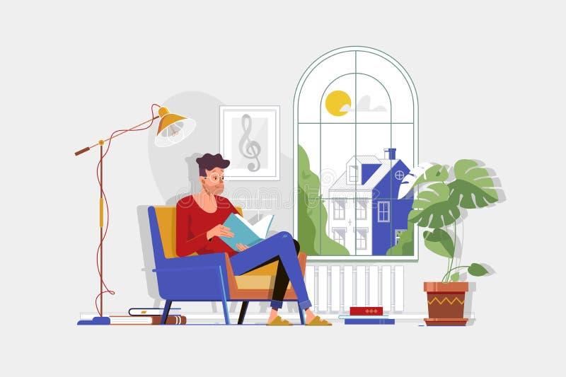 Man med exponeringsglas och den hem- kläderläseboken och att sitta i stol stock illustrationer