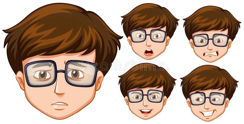Man med fem olika ansiktsuttryck vektor illustrationer