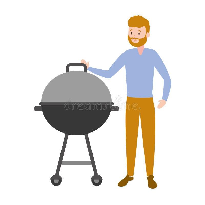 Man med grillfestgallret stock illustrationer