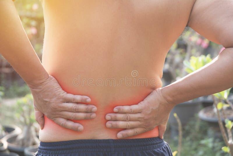 Man med händer som rymmer hans midja tillbaka smärtar in En man smärtar concep arkivfoton