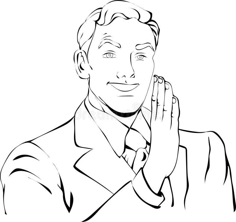Man med handen och skönhetleende stock illustrationer