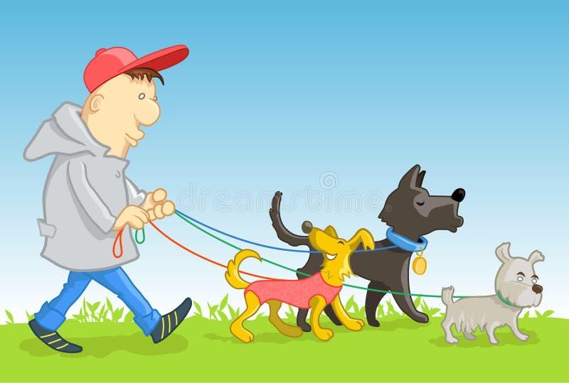 Man med hundar stock illustrationer