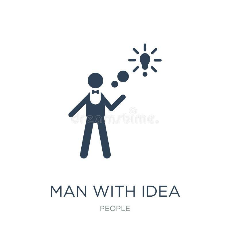 man med idésymbolen i moderiktig designstil man med idésymbolen som isoleras på vit bakgrund man med den enkla idévektorsymbolen  royaltyfri illustrationer