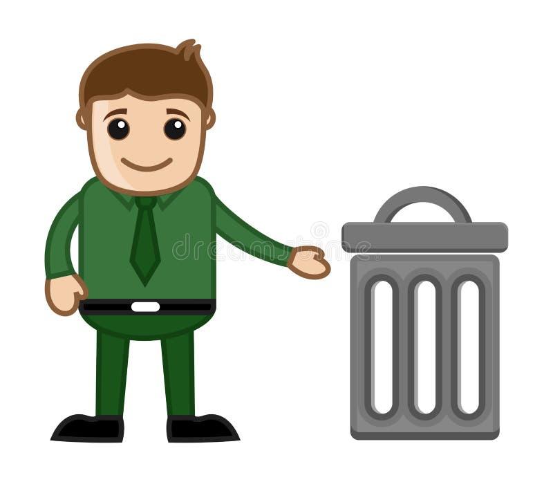Man med illustrationen för vektor för avfallfack vektor illustrationer